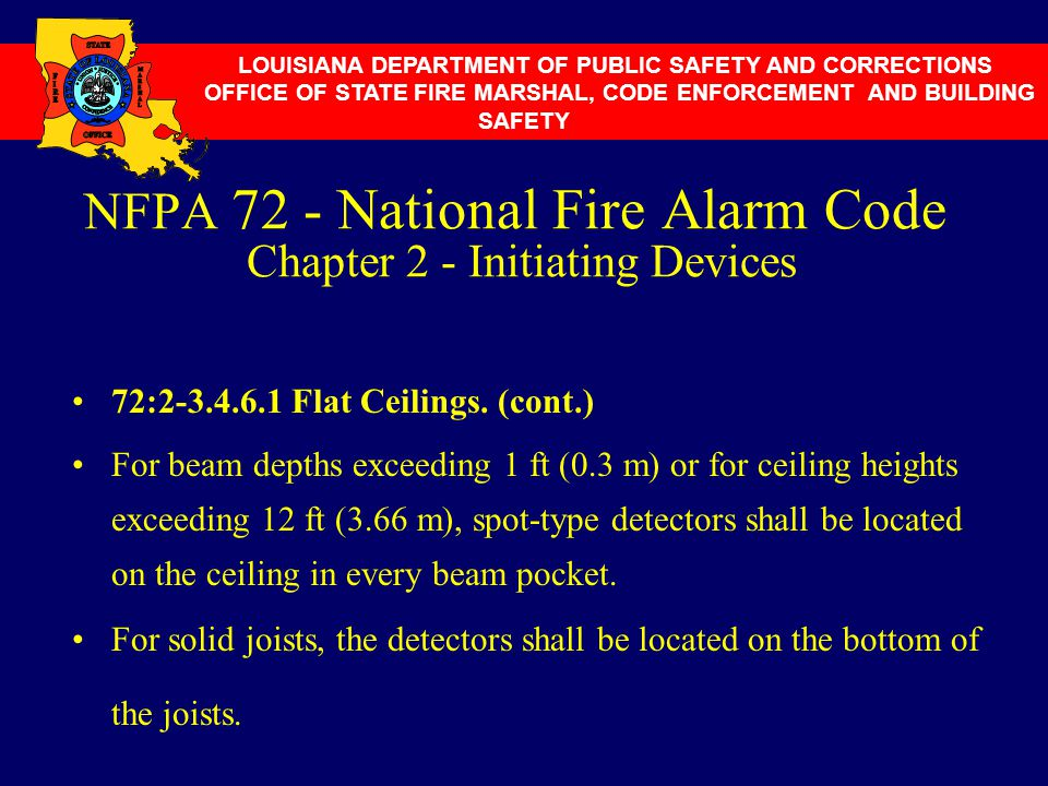 NFPA 72 - National Fire Alarm Code Chapter 2 - Initiating Devices 72:2-3.4.6.1 Flat Ceilings. (cont.) For beam depths exceeding 1 ft (0.3 m) or for ce