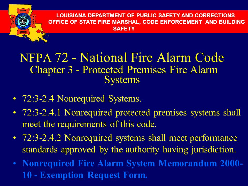 NFPA 72 - National Fire Alarm Code Chapter 3 - Protected Premises Fire Alarm Systems 72:3-2.4 Nonrequired Systems. 72:3-2.4.1 Nonrequired protected pr