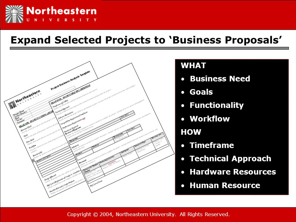 Copyright © 2004, Northeastern University. All Rights Reserved. Expand Selected Projects to 'Business Proposals' WHAT Business Need Goals Functionalit