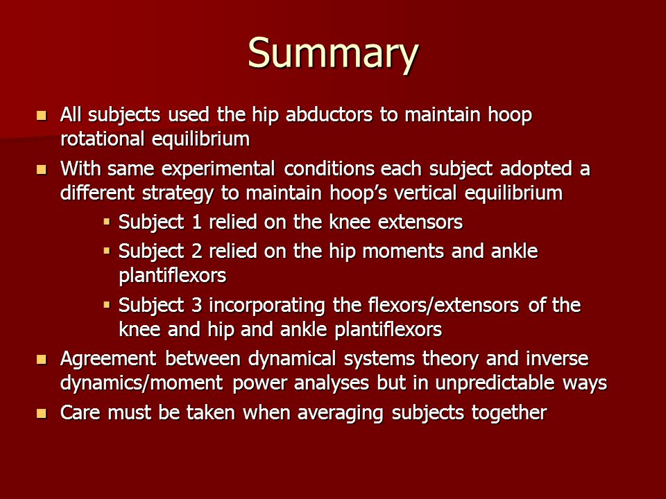 Summary All subjects used the hip abductors to maintain hoop rotational equilibrium All subjects used the hip abductors to maintain hoop rotational eq