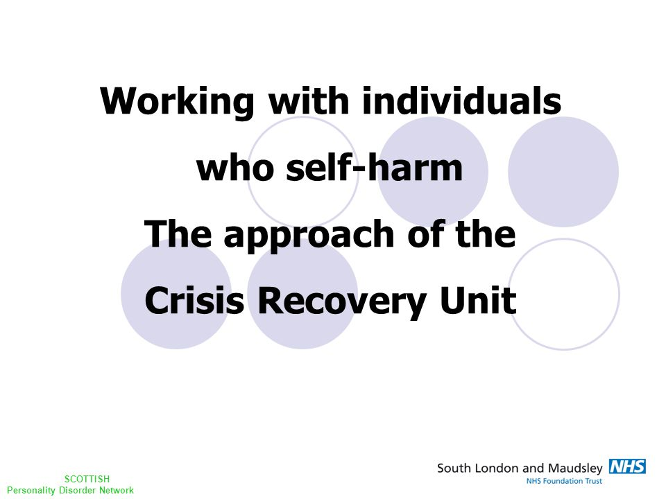 SCOTTISH Personality Disorder Network Outline Setting the scene The unit ~ where we started Dilemmas How to work with the work The unit ~ where we are now Repetition and reparation