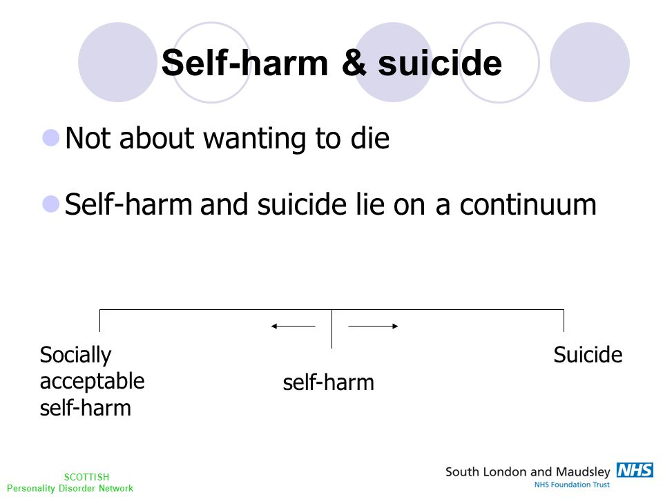 SCOTTISH Personality Disorder Network Self-harm & suicide Not about wanting to die Self-harm and suicide lie on a continuum Socially acceptable self-harm Suicide self-harm