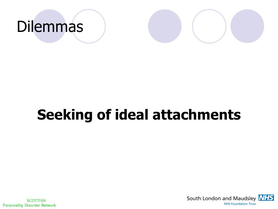 SCOTTISH Personality Disorder Network Dilemmas Seeking of ideal attachments