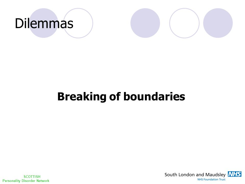 SCOTTISH Personality Disorder Network Dilemmas Breaking of boundaries