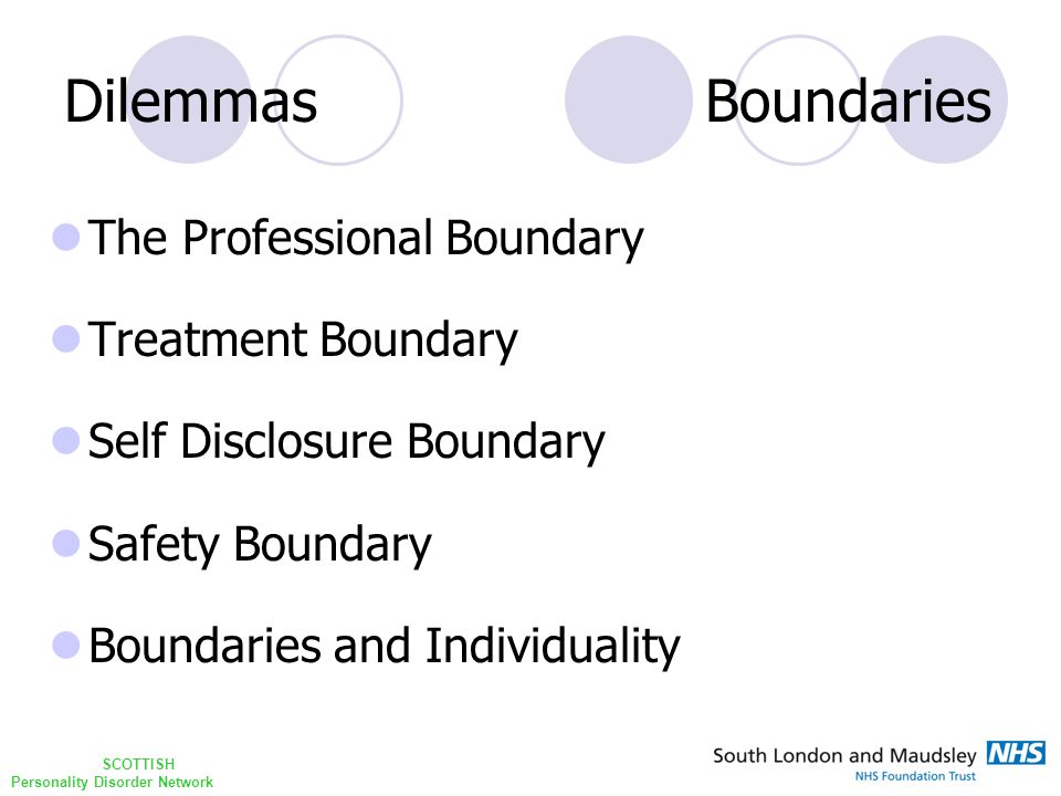 SCOTTISH Personality Disorder Network Dilemmas Boundaries The skin ego is the interface between psyche and body, self and others Anzieu 1989
