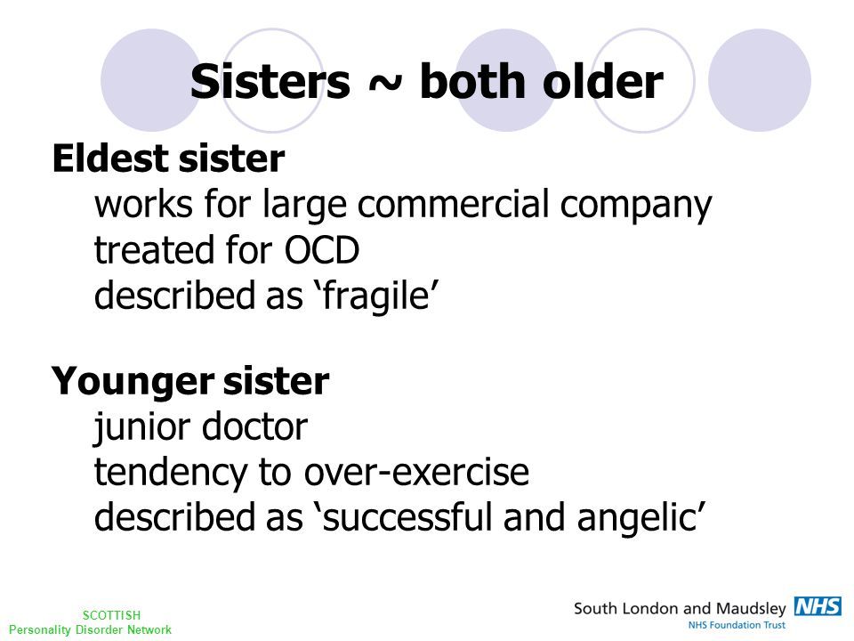 SCOTTISH Personality Disorder Network Sisters ~ both older Eldest sister works for large commercial company treated for OCD described as 'fragile' Younger sister junior doctor tendency to over-exercise described as 'successful and angelic'