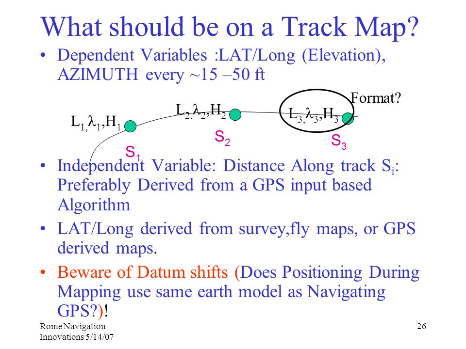 Rome Navigation Innovations 5/14/07 26 What should be on a Track Map.