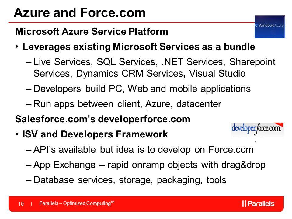 Parallels – Optimized Computing TM 10 Azure and Force.com Microsoft Azure Service Platform Leverages existing Microsoft Services as a bundle –Live Ser
