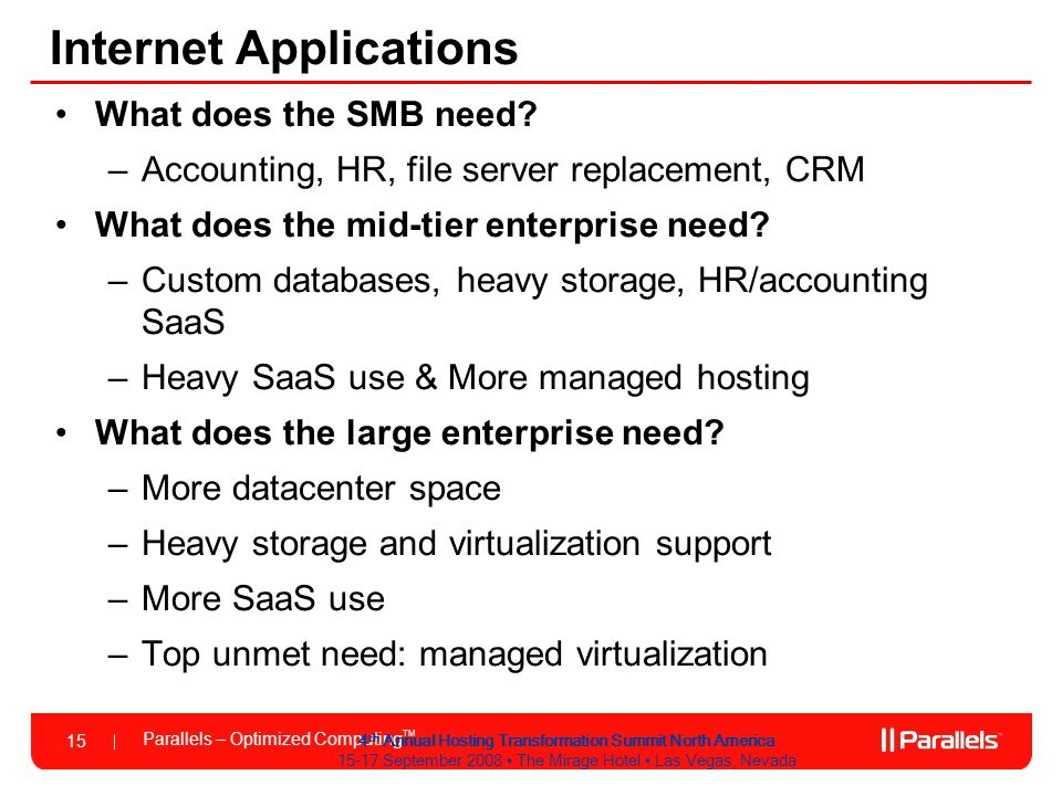 Parallels – Optimized Computing TM 15 4 th Annual Hosting Transformation Summit North America 15-17 September 2008 The Mirage Hotel Las Vegas, Nevada