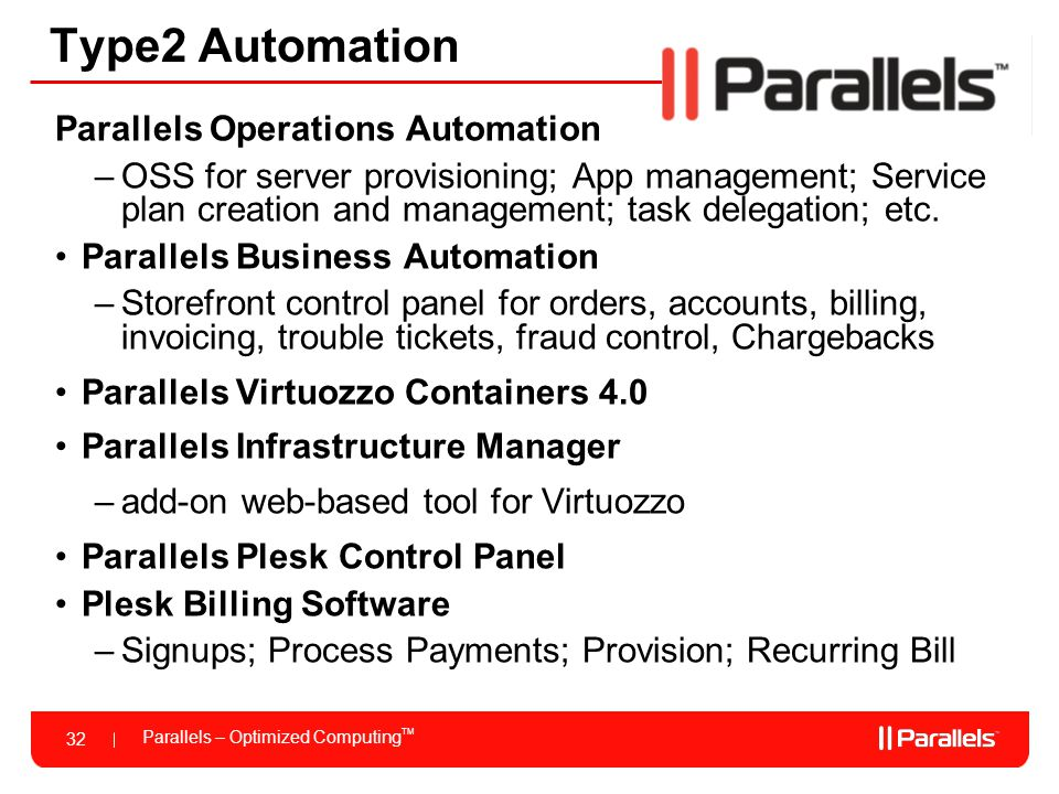 Parallels – Optimized Computing TM 32 Type2 Automation Parallels Operations Automation –OSS for server provisioning; App management; Service plan crea