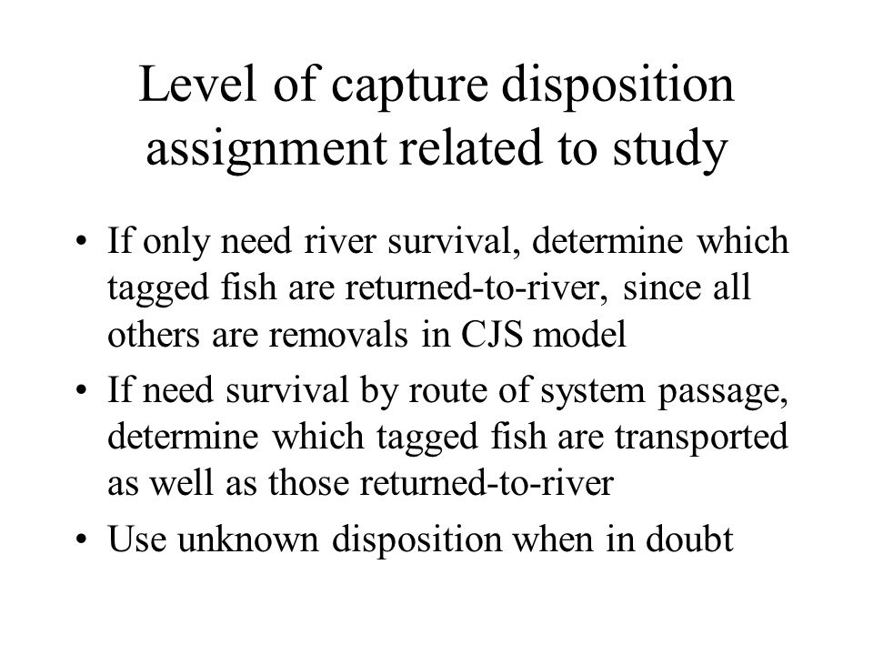 Survival estimation software For survival only, we use CSU's MARK program due to ease with large releases, and presence of Burnham's Test 2 and Test 3 For survival plus SARs, FPC created a bootstrap program that gives river reach survivals, SARs for transported and in-river migrants, ratios of SARs, and D plus 95% confidence intervals