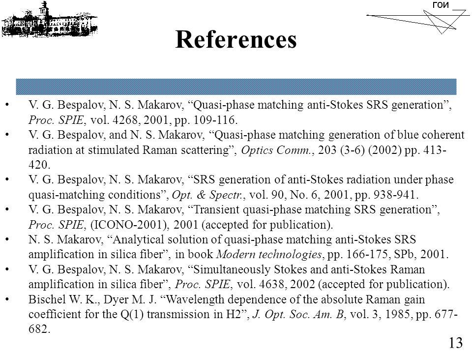"""References V. G. Bespalov, N. S. Makarov, """"Quasi-phase matching anti-Stokes SRS generation"""", Proc. SPIE, vol. 4268, 2001, pp. 109-116. V. G. Bespalov,"""
