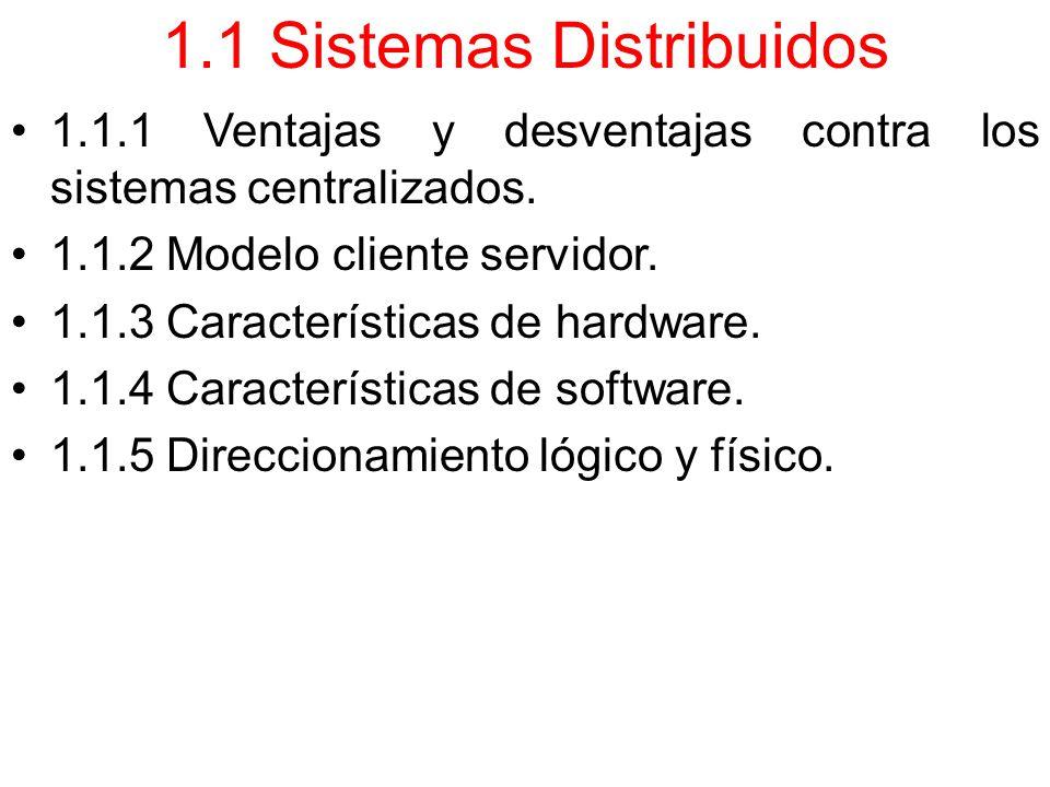 1.1 Sistemas Distribuidos 1.1.1 Ventajas y desventajas contra los sistemas centralizados.