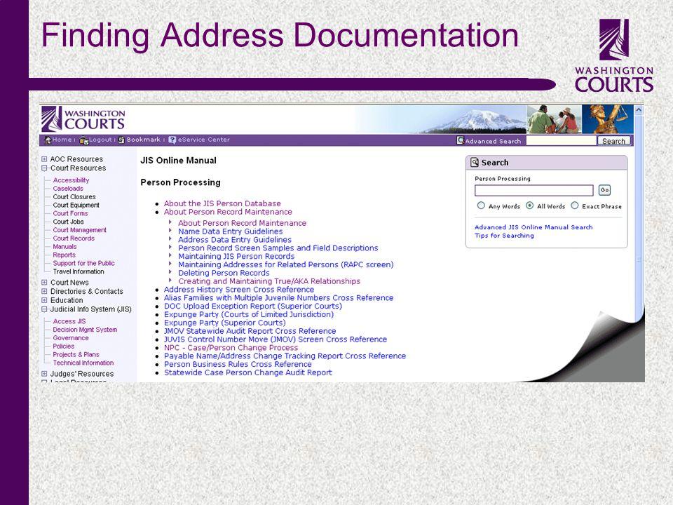 c Finding Address Documentation