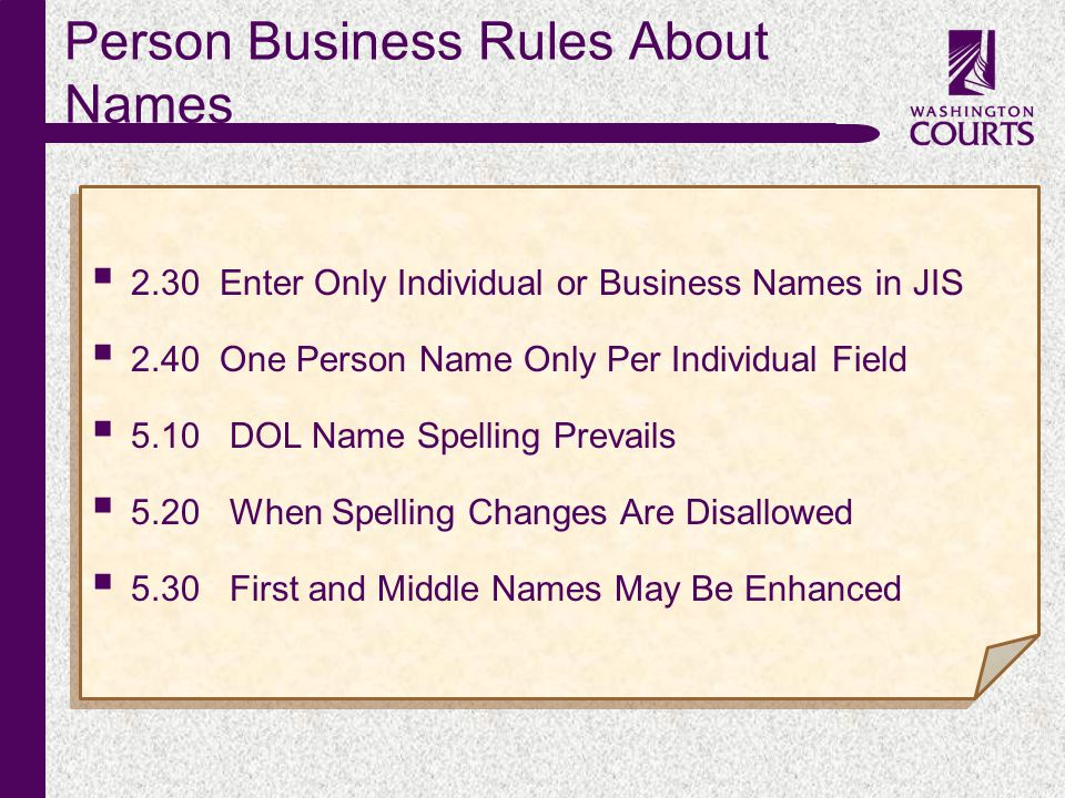 c Person Business Rules About Names  2.30 Enter Only Individual or Business Names in JIS  2.40 One Person Name Only Per Individual Field  5.10 DOL Name Spelling Prevails  5.20 When Spelling Changes Are Disallowed  5.30 First and Middle Names May Be Enhanced  2.30 Enter Only Individual or Business Names in JIS  2.40 One Person Name Only Per Individual Field  5.10 DOL Name Spelling Prevails  5.20 When Spelling Changes Are Disallowed  5.30 First and Middle Names May Be Enhanced