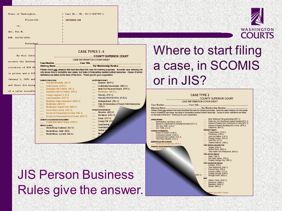 c JIS Person Business Rules give the answer. Where to start filing a case, in SCOMIS or in JIS?