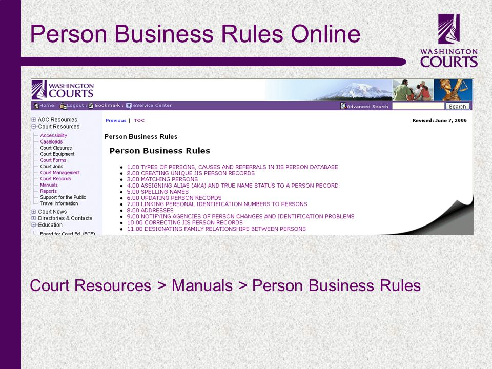 c Person Business Rules Online Court Resources > Manuals > Person Business Rules