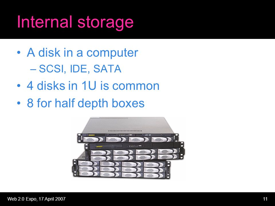 Web 2.0 Expo, 17 April 200711 Internal storage A disk in a computer –SCSI, IDE, SATA 4 disks in 1U is common 8 for half depth boxes