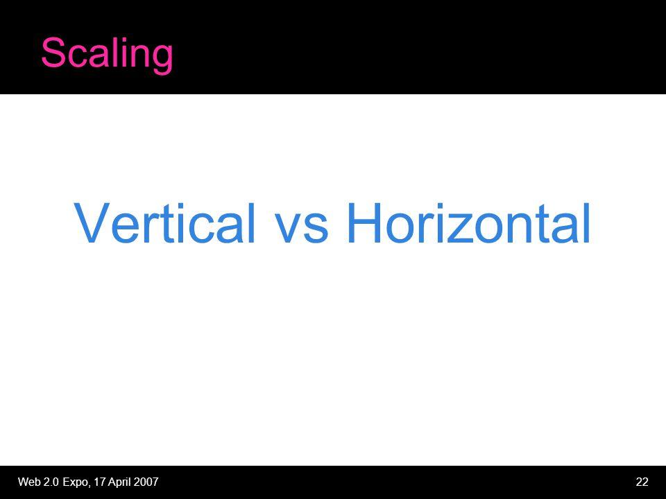 Web 2.0 Expo, 17 April 200722 Scaling Vertical vs Horizontal
