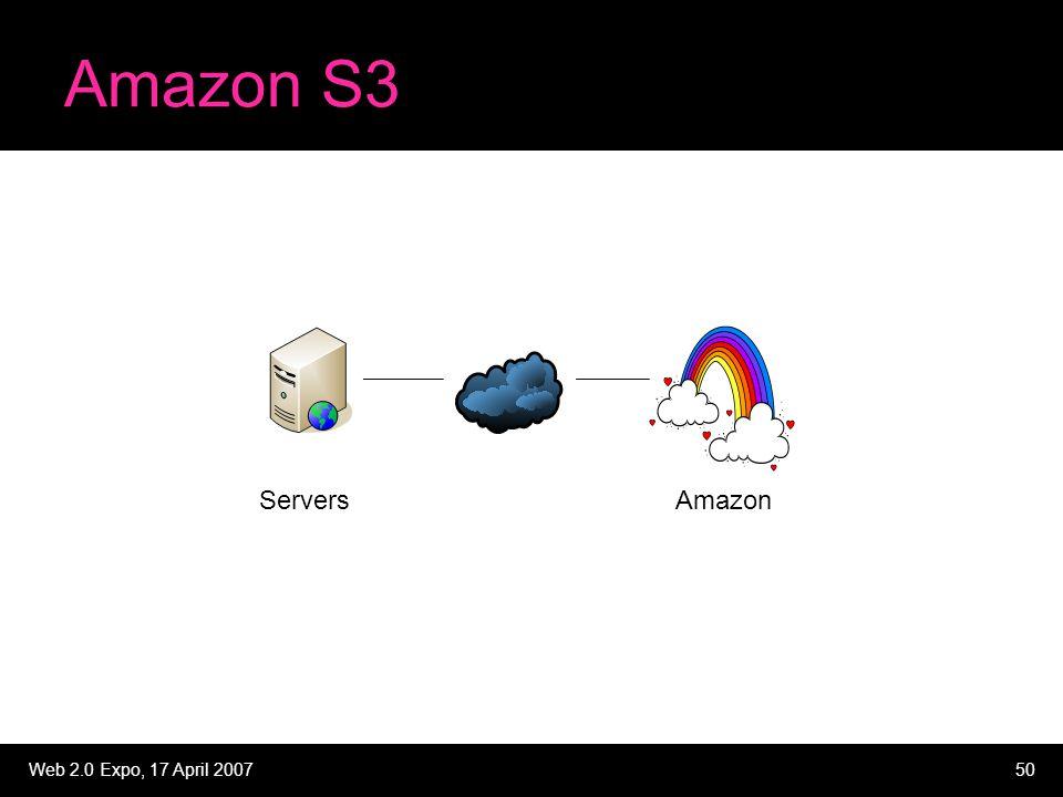 Web 2.0 Expo, 17 April 200750 Amazon S3 ServersAmazon