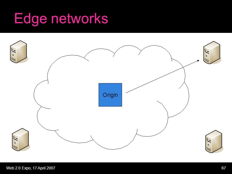 Web 2.0 Expo, 17 April 200767 Edge networks Origin