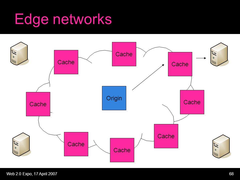 Web 2.0 Expo, 17 April 200768 Edge networks Origin Cache