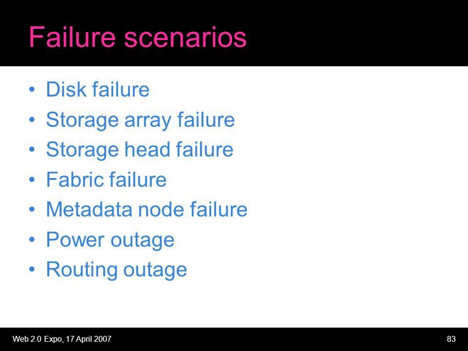 Web 2.0 Expo, 17 April 200783 Failure scenarios Disk failure Storage array failure Storage head failure Fabric failure Metadata node failure Power outage Routing outage