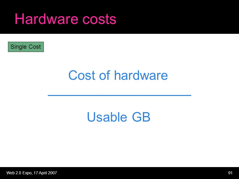 Web 2.0 Expo, 17 April 200791 Hardware costs Cost of hardware Usable GB Single Cost