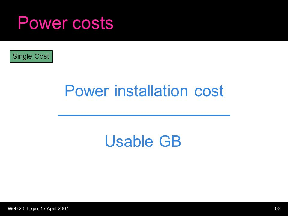 Web 2.0 Expo, 17 April 200793 Power costs Power installation cost Usable GB Single Cost