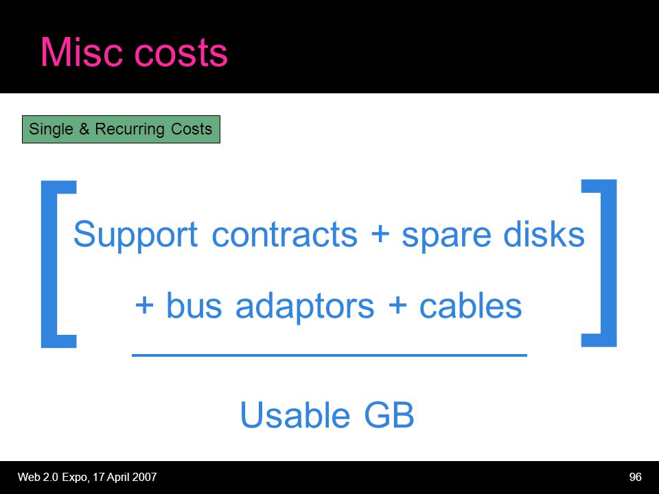 Web 2.0 Expo, 17 April 200796 Misc costs Support contracts + spare disks Usable GB + bus adaptors + cables [ ] Single & Recurring Costs