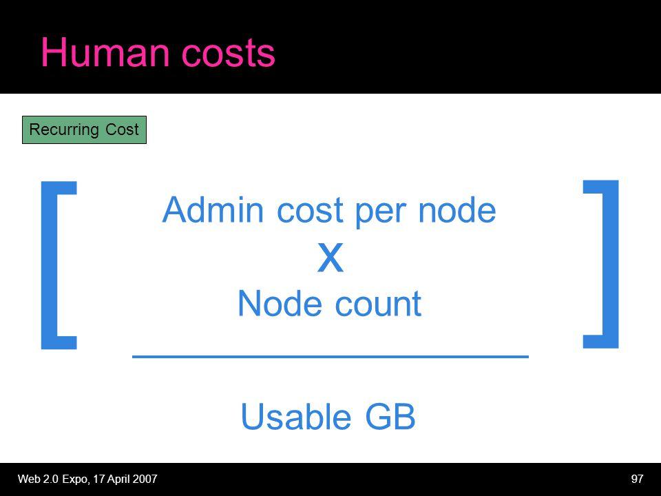 Web 2.0 Expo, 17 April 200797 Human costs Admin cost per node Node count x Recurring Cost Usable GB [ ]