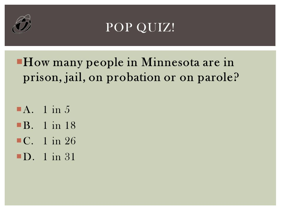  How many people in Minnesota are in prison, jail, on probation or on parole.