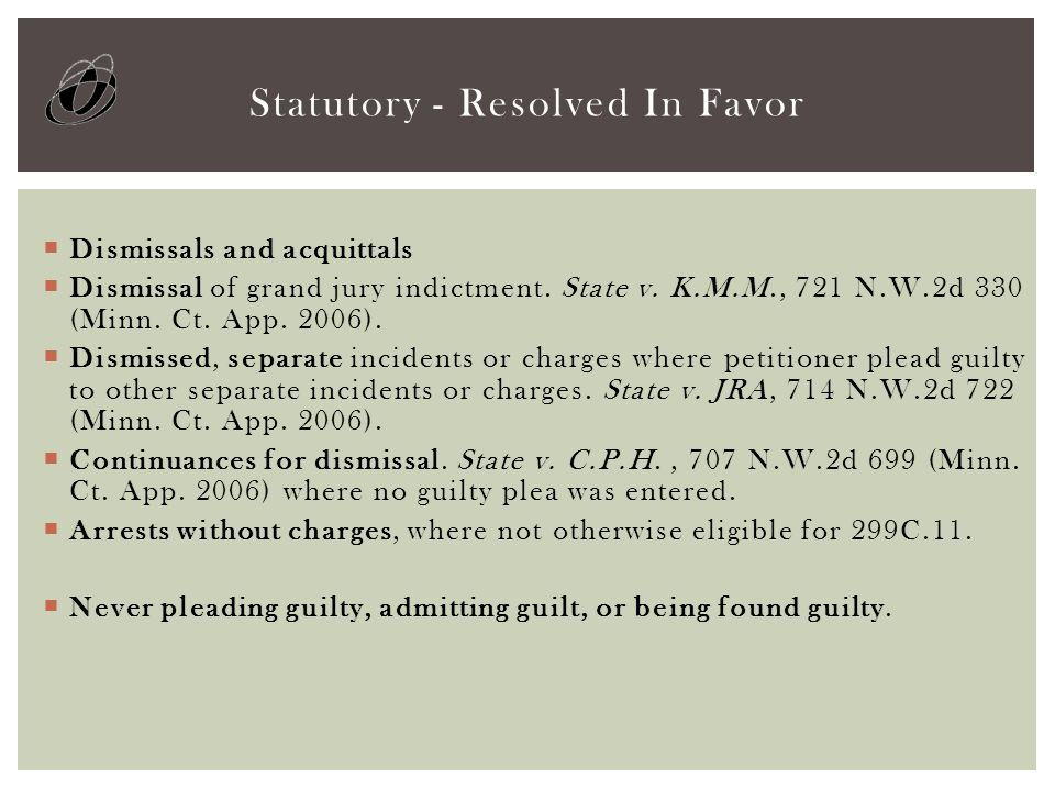  Dismissals and acquittals  Dismissal of grand jury indictment.