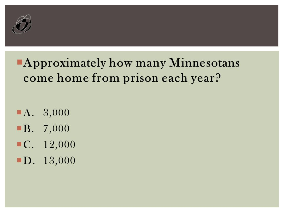  Approximately how many Minnesotans come home from prison each year.