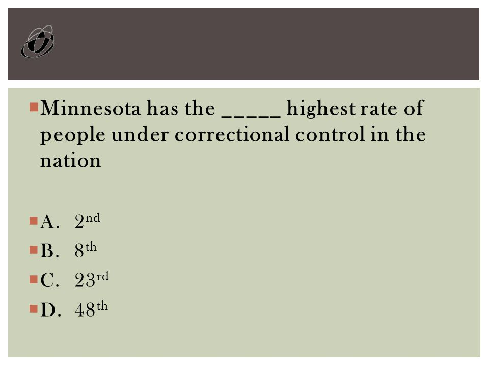  Minnesota has the _____ highest rate of people under correctional control in the nation  A.