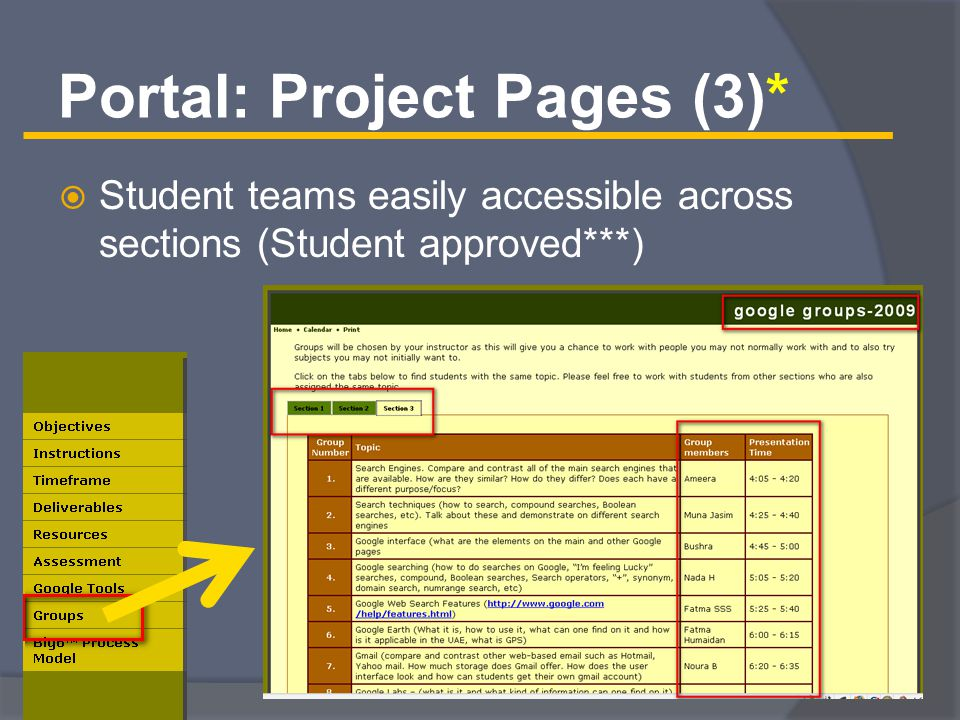 Portal: Project Pages (3)*  Student teams easily accessible across sections (Student approved***)
