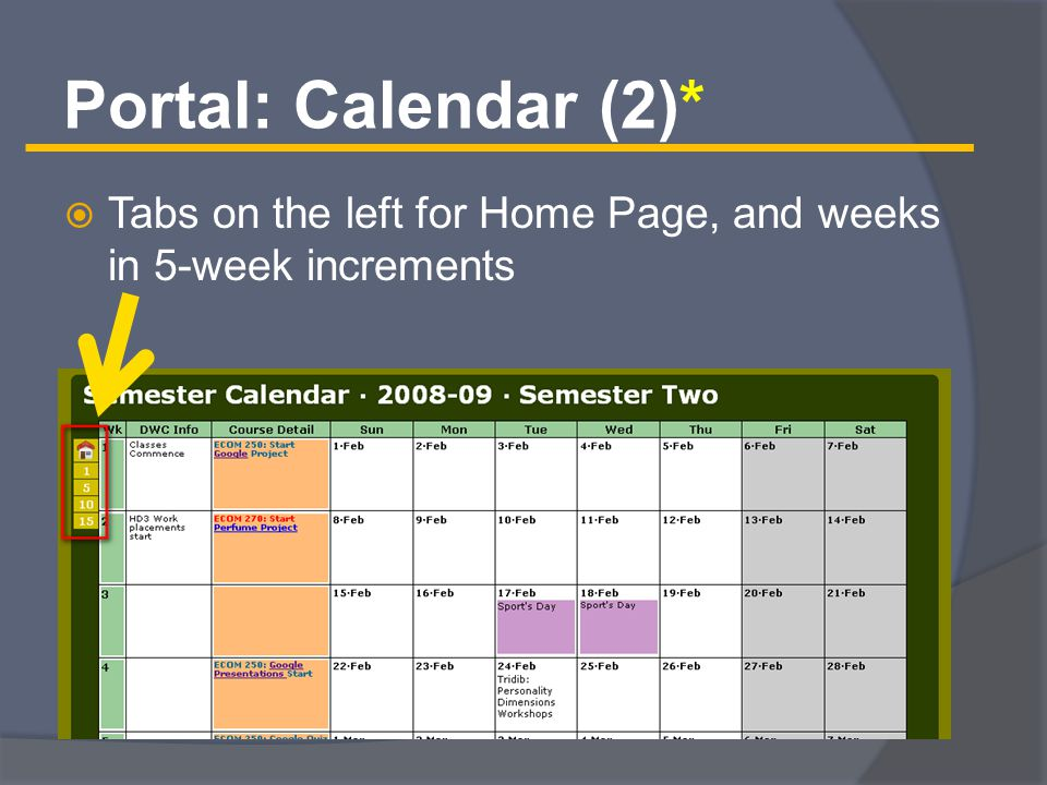 Portal: Calendar (2)*  Tabs on the left for Home Page, and weeks in 5-week increments