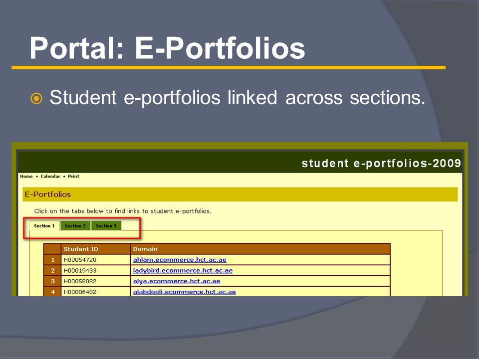 Portal: E-Portfolios  Student e-portfolios linked across sections.