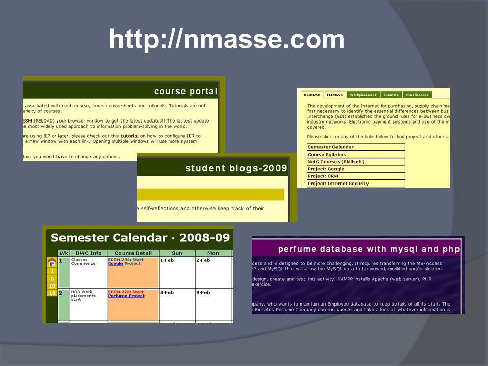 Portal: Calendar (2)*  Tabs on the left for Home Page, and weeks in 5-week increments