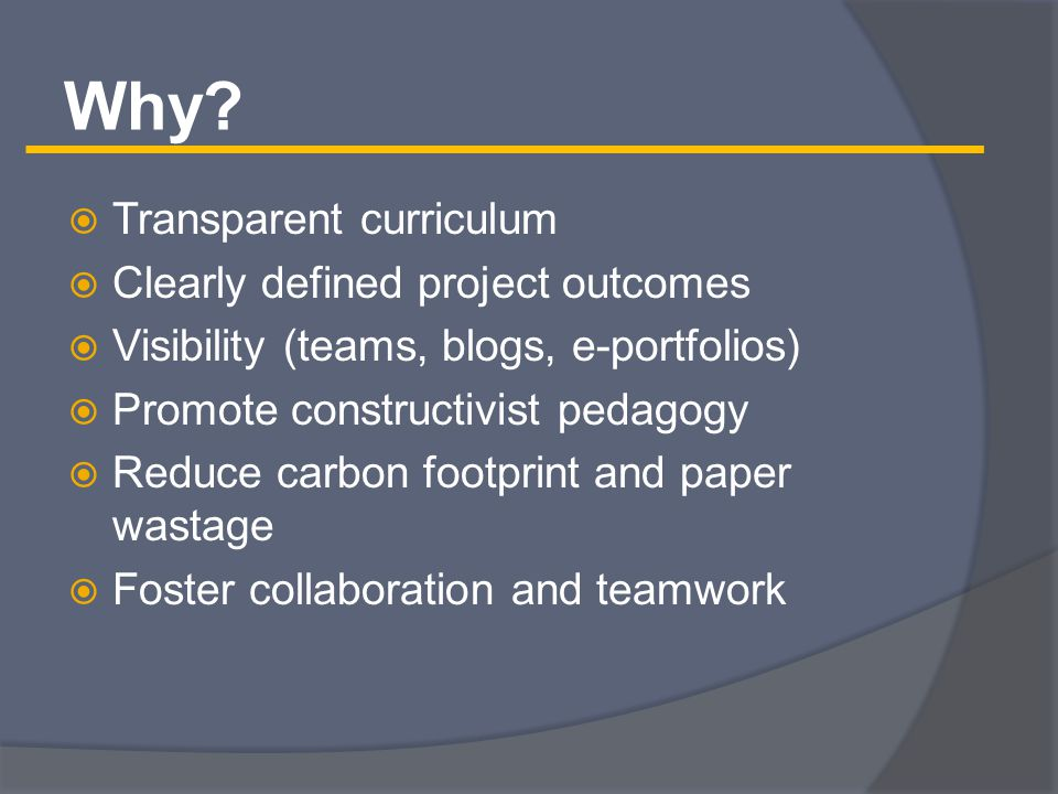  Self-directed learning  Blended (paper/online)  Project-based  Collaborative  Teams  Team and individual components  Outcomes – Presentations, peer teaching, papers, self-reflection E-Business Curriculum