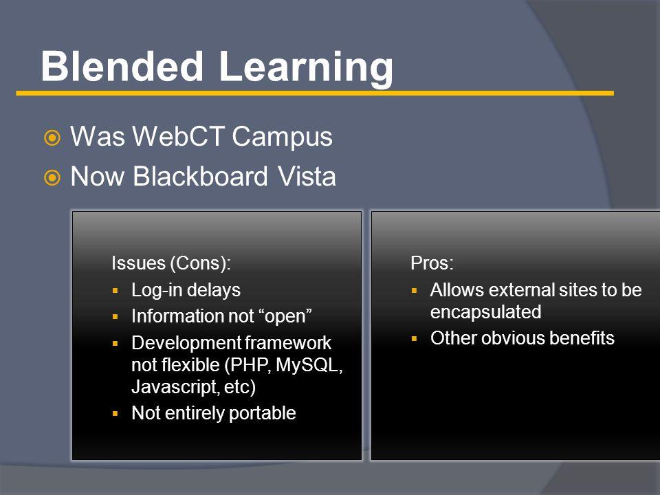 Blended Learning (2)  Course Portal encapsulated into Blackboard Vista