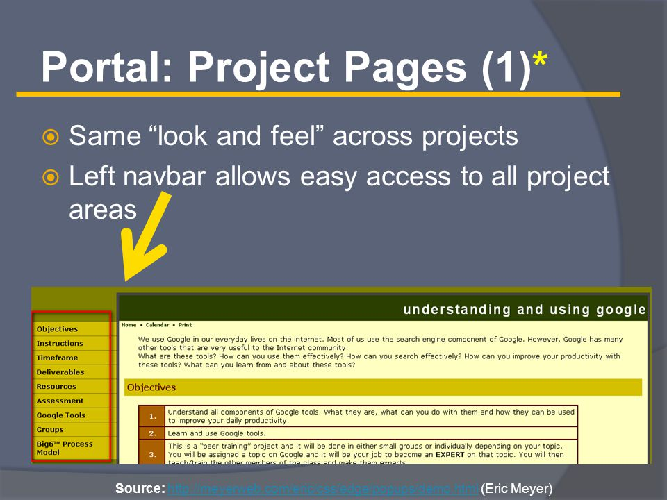 Portal: Project Pages (1)*  Same look and feel across projects  Left navbar allows easy access to all project areas Source: http://meyerweb.com/eric/css/edge/popups/demo.html (Eric Meyer)http://meyerweb.com/eric/css/edge/popups/demo.html