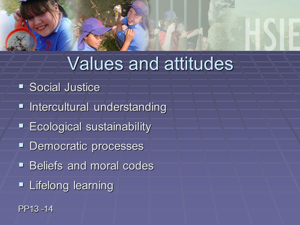 Values and attitudes  Social Justice  Intercultural understanding  Ecological sustainability  Democratic processes  Beliefs and moral codes  Lifelong learning PP13 -14