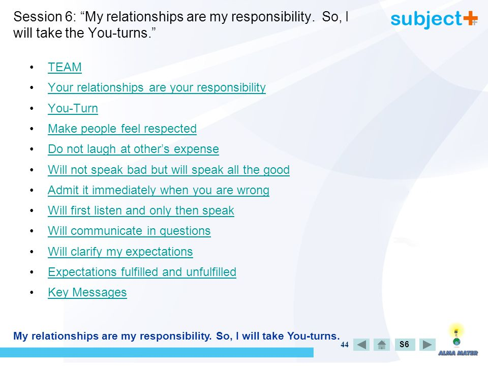 44 Session 6: My relationships are my responsibility.