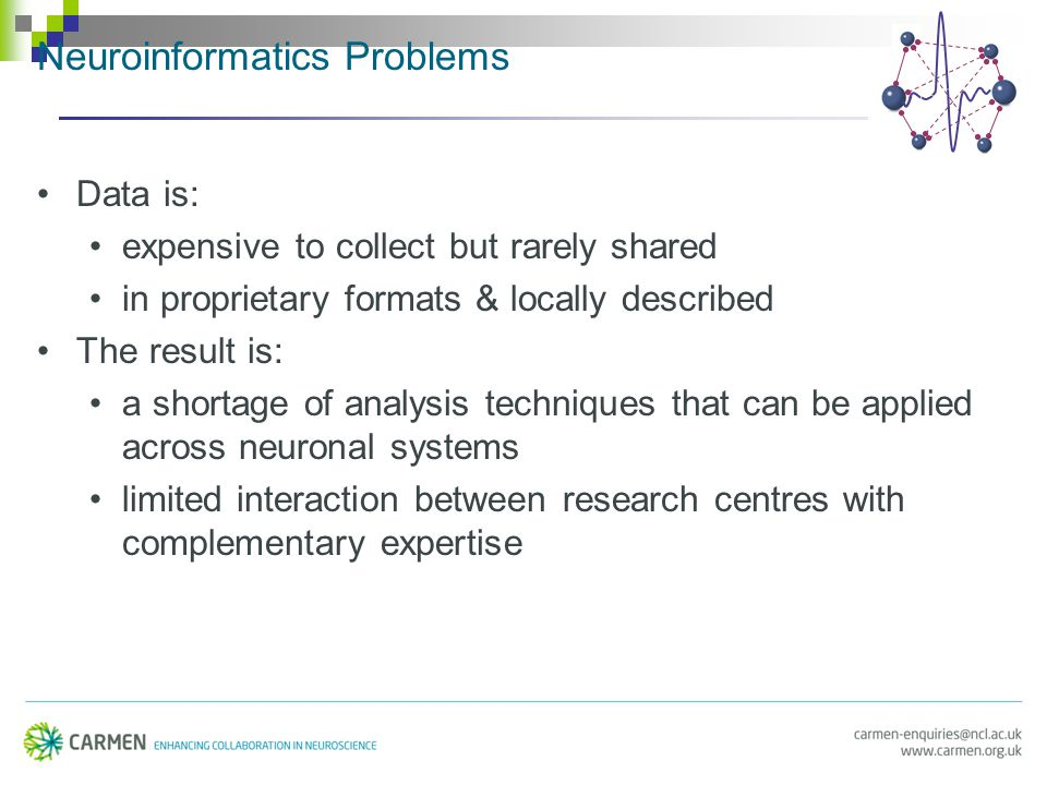 Neuroinformatics Problems Data is: expensive to collect but rarely shared in proprietary formats & locally described The result is: a shortage of analysis techniques that can be applied across neuronal systems limited interaction between research centres with complementary expertise