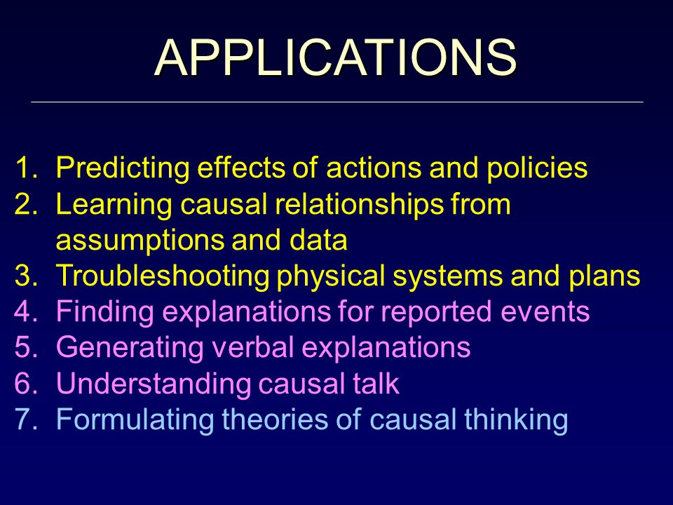 APPLICATIONS 1. Predicting effects of actions and policies 2.