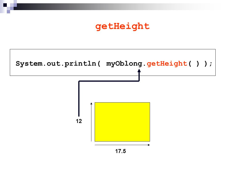 getHeight System.out.println( ); 17.5 12 myOblong.getHeight( )