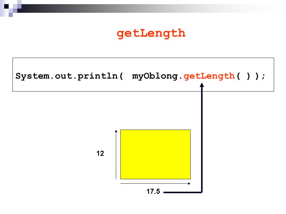 getLength System.out.println( ); 17.5 12 myOblong.getLength( )