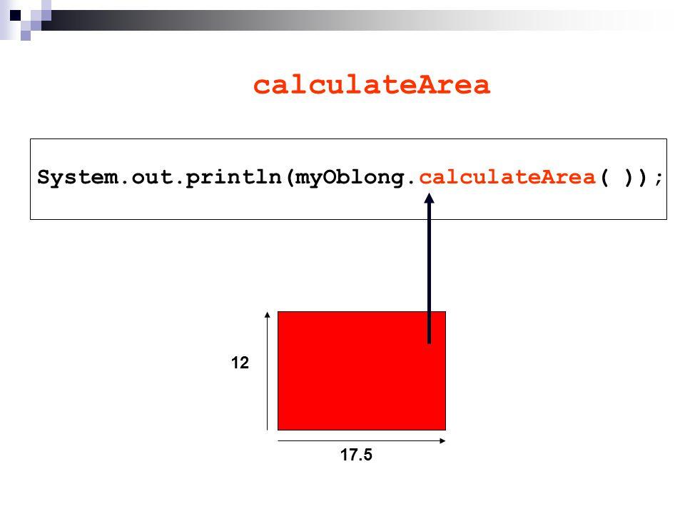 calculateArea System.out.println( ); 17.5 12 myOblong.calculateArea( )