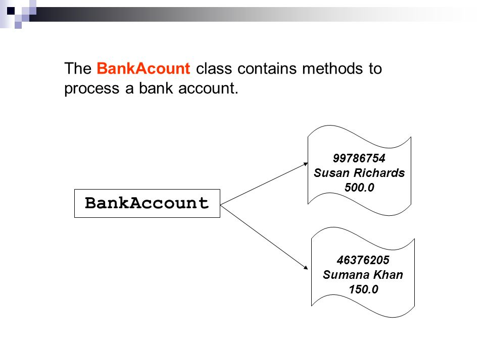 The BankAcount class contains methods to process a bank account.